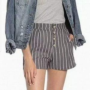 Nordstrom Elodie Linen Striped Front Button Shorts